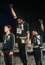 The single most famous declaration of Black Power ever. The Australian who took the Silver Medal, by supporting his fellow American runners, paid a high price, including having his medal stripped and his national record negated.